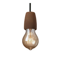 Euro Classics Ovalesque 1 Light 2 inch Dark Bronze with Celadon Green Crackle Pendant Ceiling Light in Black Cord
