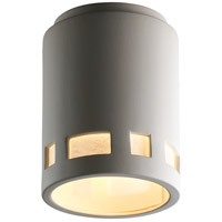 Justice Design Group Radiance Cylinder w/ Prairie Window Flush-Mount Outdoor Flush-Mount in Bisque CER-6107W-BIS