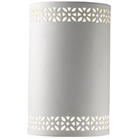 Justice Design Group Ambiance Small Cylinder w/ Floral Band Wall Sconce in Bisque CER-7805-BIS