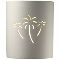Justice Design CER-9010-HMPW-PALM Sun Dagger Cylinder 1 Light 8 inch Hammered Pewter Wall Sconce Wall Light in Incandescent, Palm Trees, Small thumb