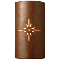 Justice Design Group Sun Dagger 2 Light Wall Sconce in Rust Patina with No Cutout CER-9015-PATR-NCUT