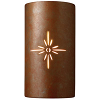 Justice Design Group Sun Dagger 1 Light Outdoor Wall Sconce in Rust Patina with No Cutout CER-9015W-PATR-NCUT