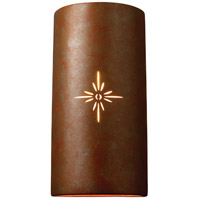Justice Design Group Sun Dagger 2 Light Outdoor Wall Sconce in Rust Patina with No Cutout CER-9025W-PATR-NCUT