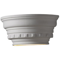 Justice Design Group Ambiance Curved Dentil Molding w/ Glass Shelf Wall Sconce in Bisque CER-9805-BIS