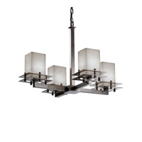Metropolis 4 Light 25 inch Brushed Nickel Chandelier Ceiling Light in Square with Flat Rim
