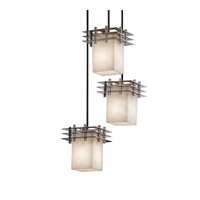 Metropolis 3 Light 7 inch Brushed Nickel Pendant Ceiling Light in Square with Flat Rim