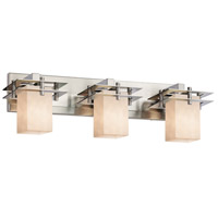 Justice Design CLD-8173-15-NCKL Clouds 3 Light 27 inch Brushed Nickel Bath Bar Wall Light in Square with Flat Rim Incandescent Square w/ Flat Rim