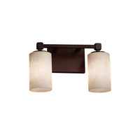 Clouds 2 Light 13 inch Dark Bronze Vanity Light Wall Light in Cylinder with Flat Rim, Fluorescent
