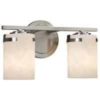 Justice Design CLD-8452-10-NCKL Clouds 2 Light 14 inch Vanity Light Wall Light in Brushed Nickel Incandescent