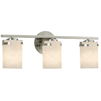 Justice Design CLD-8453-10-NCKL Clouds 3 Light 23 inch Vanity Light Wall Light in Brushed Nickel Incandescent