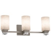 Justice Design CLD-8473-10-NCKL Clouds 3 Light 23 inch Brushed Nickel Bath Bar Wall Light in Cylinder with Flat Rim Incandescent