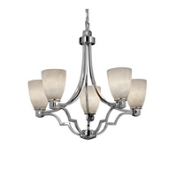 Clouds 5 Light Polished Chrome Chandelier Ceiling Light in Tapered Cylinder, Fluorescent