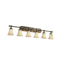 Justice Design CLD-8526-20-ABRS Clouds 6 Light 48 inch Antique Brass Bath Bar Wall Light photo thumbnail