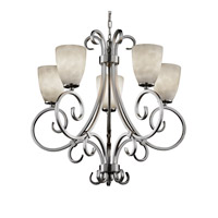Clouds 5 Light Brushed Nickel Chandelier Ceiling Light in Tapered Cylinder, Fluorescent