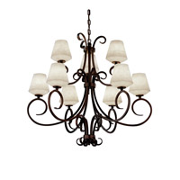 Victoria 9 Light 37 inch Dark Bronze Chandelier Ceiling Light in Inverted Cone, Fluorescent