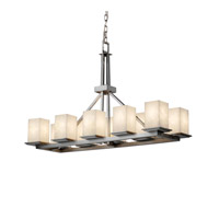 Justice Design Clouds Montana 10-Light Rectangular Ring Chandelier in Brushed Nickel CLD-8650-15-NCKL