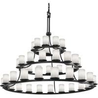 Justice Design CLD-8714-10-MBLK Clouds 45 Light 60 inch Matte Black Chandelier Ceiling Light, Cylinder