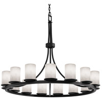Justice Design CLD-8716-10-MBLK Clouds 21 Light 60 inch Matte Black Chandelier Ceiling Light, Cylinder