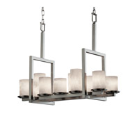 Justice Design Clouds Dakota 10-Light Bridge Chandelier in Brushed Nickel CLD-8757-10-NCKL