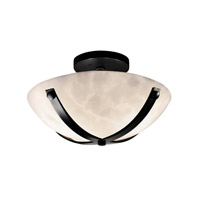 Clouds 2 Light Matte Black Semi-Flush Bowl Ceiling Light