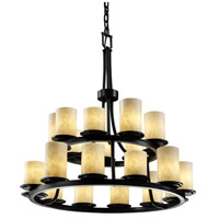 Justice Design Clouds Dakota 21-Light 2-Tier Ring Chandelier in Matte Black CLD-8767-10-MBLK