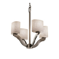 Justice Design Clouds Bend 4-Light Chandelier in Brushed Nickel CLD-8970-30-NCKL