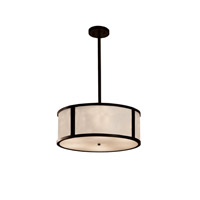 Clouds Dark Bronze Drum Pendant Ceiling Light in Fluorescent