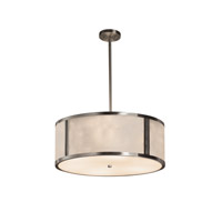 Clouds Brushed Nickel Drum Pendant Ceiling Light in Fluorescent