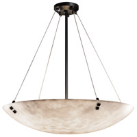 Justice Design CLD-9664-35-DBRZ-F3-LED6-6000 Clouds LED 39 inch Dark Bronze Pendant Ceiling Light in Pair of Square with Points, Round Bowl, 6000 Lm LED