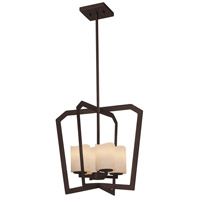 Justice Design CNDL-8014-14-CREM-CROM CandleAria 4 Light 18 inch Chandelier Ceiling Light in Polished Chrome, Cream (CandleAria), Cylinder with Melted Rim, Incandescent