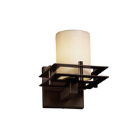 Metropolis 1 Light 7 inch Dark Bronze Wall Sconce Wall Light in Cylinder with Flat Rim, Cream (CandleAria)