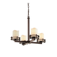 Justice Design CandleAria 4 Light Chandelier in Dark Bronze CNDL-8200-14-CREM-DBRZ