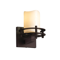 CandleAria 1 Light 7 inch Dark Bronze Wall Sconce Wall Light in Cylinder with Melted Rim, Cream (CandleAria)