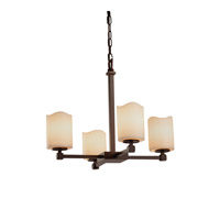 CandleAria LED 21 inch Dark Bronze Chandelier Ceiling Light in Cylinder with Melted Rim, 2800 Lm 4 Light LED, Cream (CandleAria)