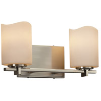 CandleAria 2 Light 14 inch Vanity Light Wall Light in 6.75, Cream, Brushed Nickel, LED, Cylinder with Melted Rim