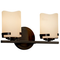 Justice Design CNDL-8452-10-CREM-MBLK CandleAria 2 Light 14 inch Vanity Light Wall Light in Matte Black, Cream (CandleAria), Cylinder with Flat Rim, Incandescent