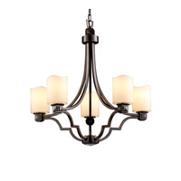 CandleAria 5 Light Dark Bronze Chandelier Ceiling Light in Cylinder with Melted Rim, Cream (CandleAria)