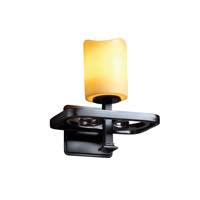 Justice Design CandleAria Arcadia 1-Light Wall Sconce in Matte Black CNDL-8561-14-AMBR-MBLK