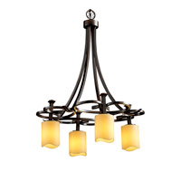 CandleAria 4 Light 24 inch Dark Bronze Chandelier Ceiling Light in Amber (CandleAria), Cylinder with Melted Rim