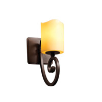 Justice Design CandleAria Victoria 1-Light Wall Sconce in Dark Bronze CNDL-8571-14-AMBR-DBRZ