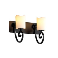Justice Design CNDL-8572-14-CREM-MBLK CandleAria 2 Light 15 inch Matte Black Bath Bar Wall Light in Cylinder with Melted Rim, Cream (CandleAria) photo thumbnail
