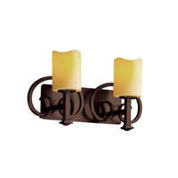 Justice Design CandleAria Heritage 2-Light Bath Bar in Dark Bronze CNDL-8582-14-AMBR-DBRZ