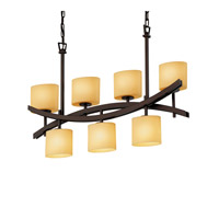 Justice Design Archway 7 Light Chandelier in Dark Bronze CNDL-8598-30-AMBR-DBRZ