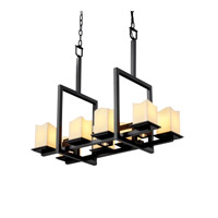 Justice Design CandleAria Montana 8-Up & 3-Downlight Bridge Chandelier in Matte Black CNDL-8618-19-CREM-MBLK