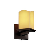 Justice Design CandleAria Montana 1-Light Wall Sconce (Angled Bobeche) in Dark Bronze CNDL-8661-15-AMBR-DBRZ
