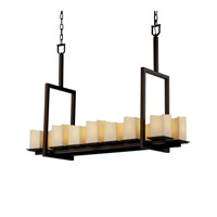 Justice Design CandleAria Montana 14-Light Bridge Chandelier (Tall) in Dark Bronze CNDL-8664-19-CREM-DBRZ