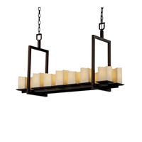 CandleAria 14 Light 13 inch Dark Bronze Chandelier Ceiling Light in Square with Melted Rim, Cream (CandleAria)