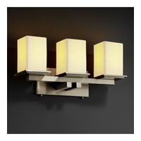 CandleAria 3 Light 21 inch Brushed Nickel Bath Bar Wall Light in Square with Flat Rim, Cream (CandleAria)