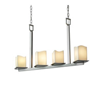 Justice Design CandleAria Montana 4-Light Bar Chandelier in Brushed Nickel CNDL-8678-19-CREM-NCKL