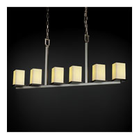 Justice Design CandleAria Montana 6-Light Bar Chandelier in Brushed Nickel CNDL-8679-15-CREM-NCKL